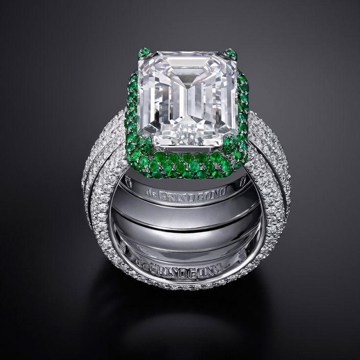 de Grisogono Diamond and Emerald Ring