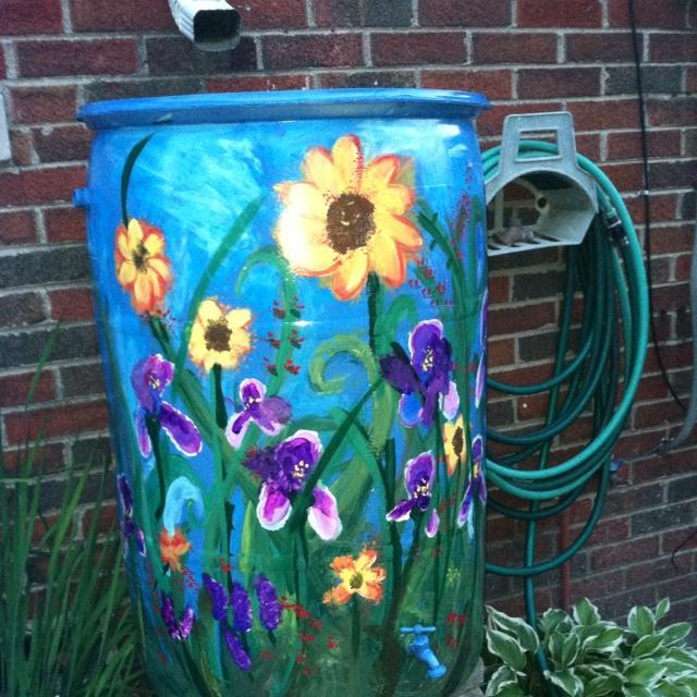 My newly painted rain barrel!!