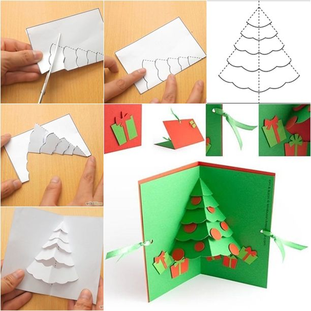 Открытки из картона и бумаги на новый год