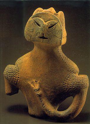 Japanese Wonder ceramic figurine.    B.C.5,500 - 4,500  This figurine was unearthed on Kamikurokoma, Fuefuki City, Yamanashi  Japan.