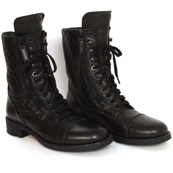 Chanel Black Leather Lace Up Combat Boots sz 39 ❤ liked on Polyvore featuring shoes, boots, ankle booties, leather booties, military boots, black army boots, leather lace up boots and leather ankle booties