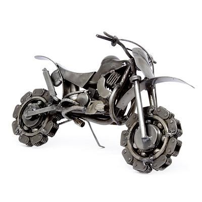 Auto parts sculpture, 'Rustic Motorcross Bike' - Collectible Recycled Metal Motorcycle Sculpture (image 2b)