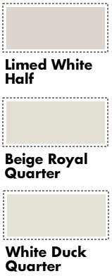 Dulux samples I've chosen: Limited White Half, White Duck Quarter, Beige Royal Quarter