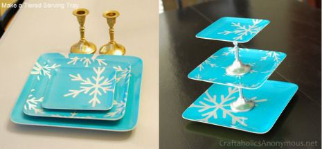 Fun and Easy DIY Holiday Party Decorations - I adore this DIY tiered dish. I want it!