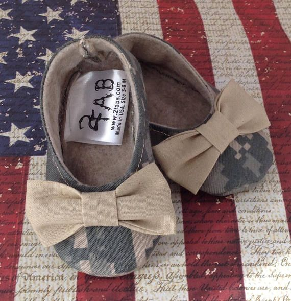 Army Camo Girl Shoes with Bows Newborn size up to 24 Months