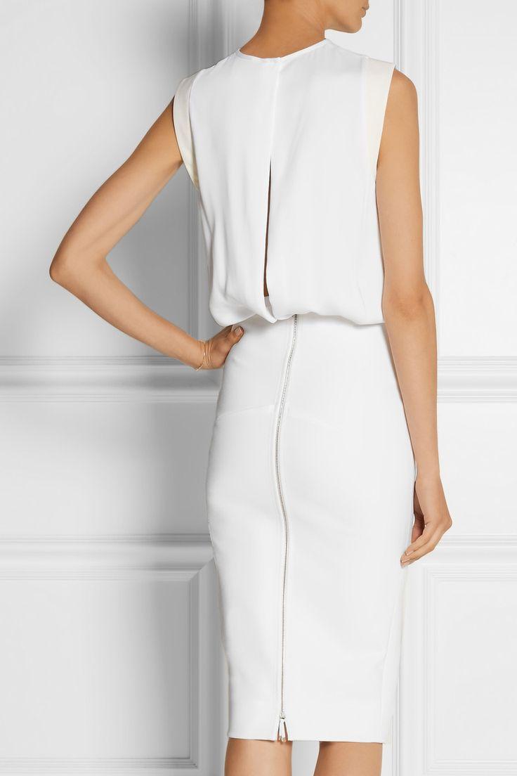 Victoria Beckham | Slit-back matte-satin and stretch-jersey dress | NET-A-PORTER.COM