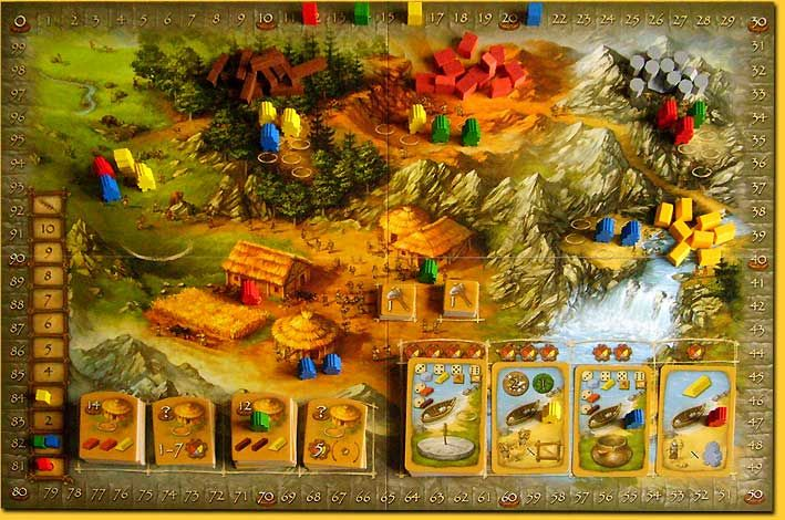 Stone Age is a great, light, worker placement board game played normally and is also great played online on Yucata.de