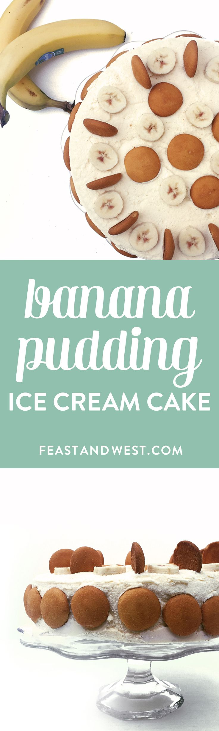 Banana Pudding Ice Cream Cake is a winner for any summer barbecue or party! (via feastandwest.com)