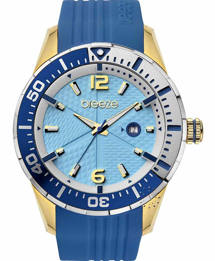BREEZE Catwalk Gold Blue Rubber Strap Μοντέλο: 110201.4 Τιμή: 140€ http://www.oroloi.gr/product_info.php?products_id=38001