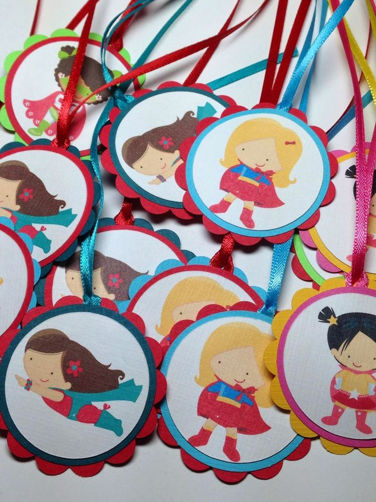 Superhero favour tags for Girls