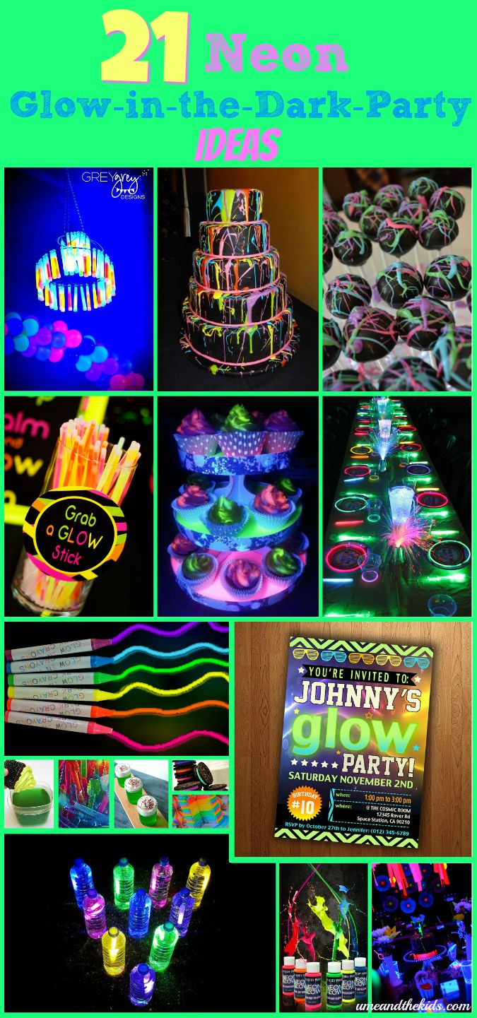 Awesome Neon themed Party - Here's 21 Neon Glow in the Dark Party Ideas you will totally love for throwing the coolest Party ever for your kids this year.