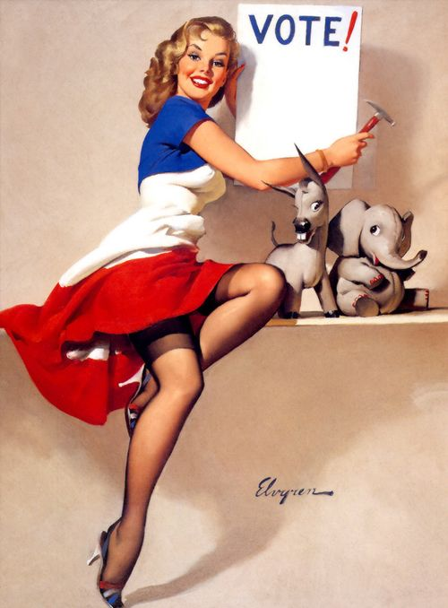 1950 pin up art fashion | Illustration art 1950's vote pin-up gil elvgren election election day