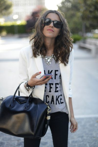 Graphic tee & statement necklace with blazer/skinnies.