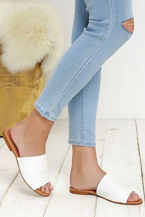 Steven Madden Slidur White Leather Slide Sandals at Lulus.com!