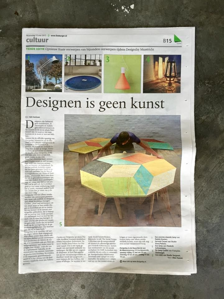 13 mei stond Lamp Zuid van Françoise Oostwegel in Dagblad De Limburger! Kom 15 - 17 mei kijken bij DesignDay Maastricht!