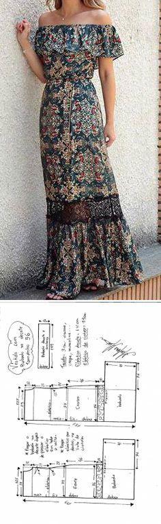 Платье с открытыми плечами (готовые выкройки)