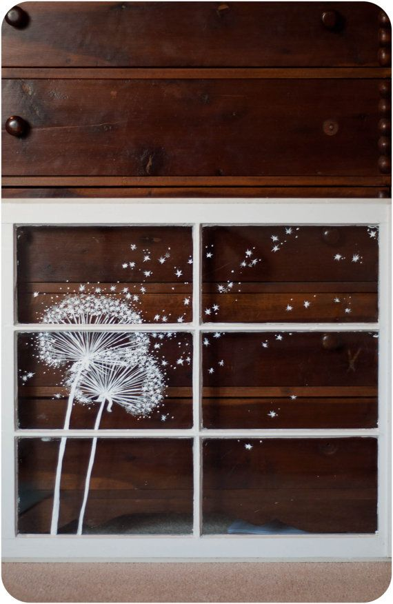 Dies ist ein whimsical Fenstermalerei. Zwei Acryl Löwenzahn werden auf einem alten Jahrgang Fenster gemalt. Ein großes Stück für Wand oder bearbeitet großes gebrachten eines Kamin-Kaminsimses. Ich glaube, es sieht toll aus, wenn vor einer dunklen Wand platziert. Ein einfaches Kunstwerk zu jedem möglichem Raum aufzuheitern. Würde in einer Küche oder Kinderzimmer wirklich süß aussehen. Indoor Kaltwasserbad; nicht wetterfesten. Hinteren Bügel enthalten nicht. (Basierend auf wo Sie möchten…