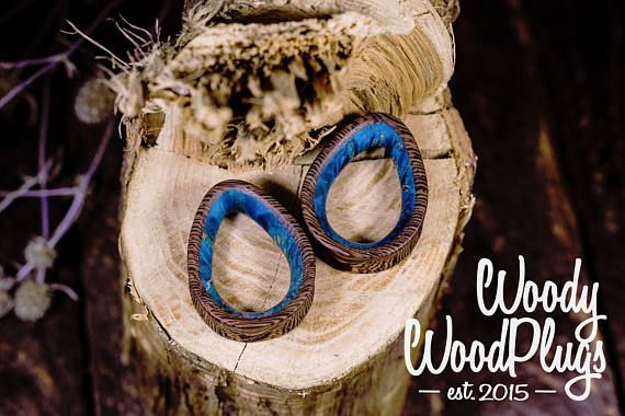 Wooden plugs with blue maple inlay - blue dropshaped tunnels - wood teardrop plugs - colorfull plugs - blue wenge tunnels - from 16 mm