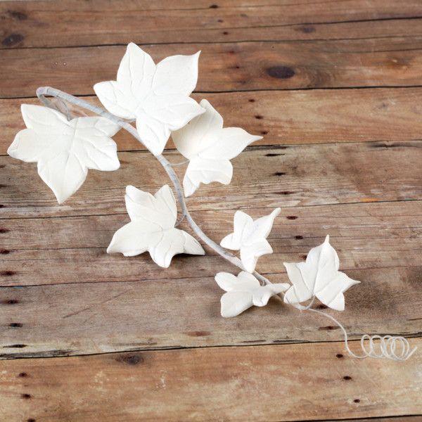 White Ivy Leaf Filler Spray handmade gumpaste cake decoration perfect for rolled fondant wedding cakes and birthday cakes.  | CaljavaOnline.com #caljava #sugarflower #gumpaste #ivy