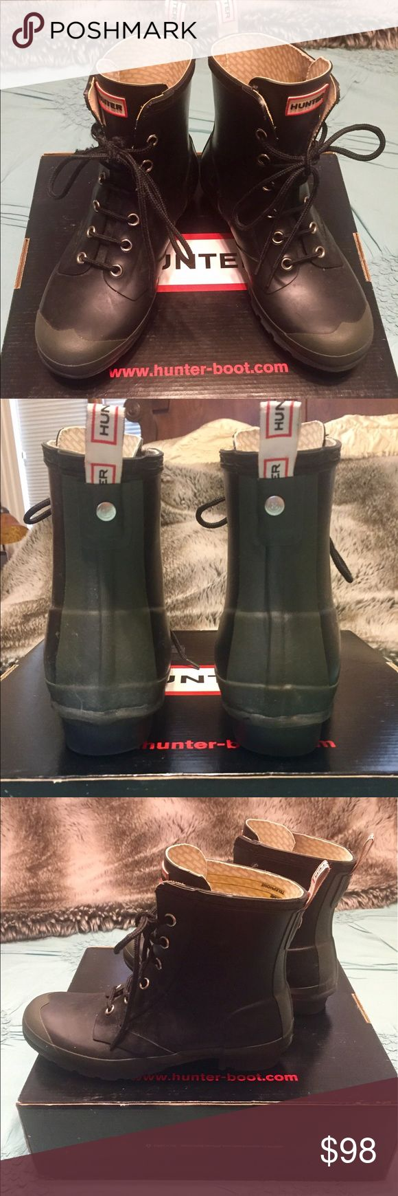 """🆕 Hard to find Hunter Brixen lace-up short boots These all weather ☔️ boots are so cool! Always get compliments on rainy days. Purchased from Saks. Unfortunately, a little too big on me except with thick socks as I'm a 7.5 and they're an 8. Box & Hunter """"boot shine"""" ($7 value) inc with purchase. In pristine condition except for 1 lace (see photo) that my cat thought was a toy. I called Hunter and they sent me replacement laces at no charge but now I can't find them! I'm guessing they would…"""