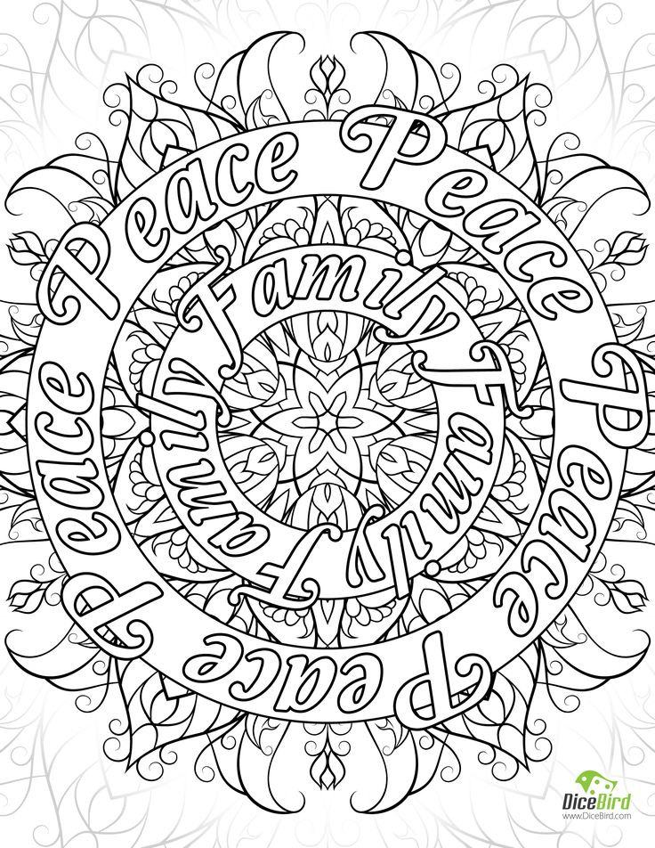 Peace Family Joy Love Free Adult Coloring Book Pages To Print