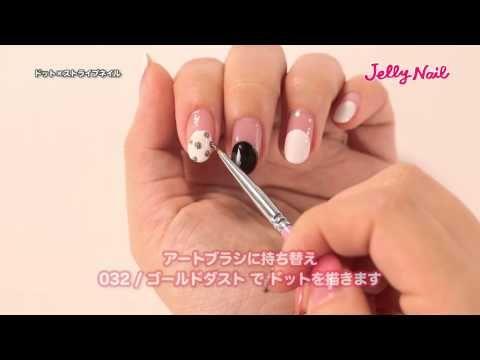 ドット×ストライプ ネイル【ジェリーネイル:ジェルネイルデザイン】 - YouTube
