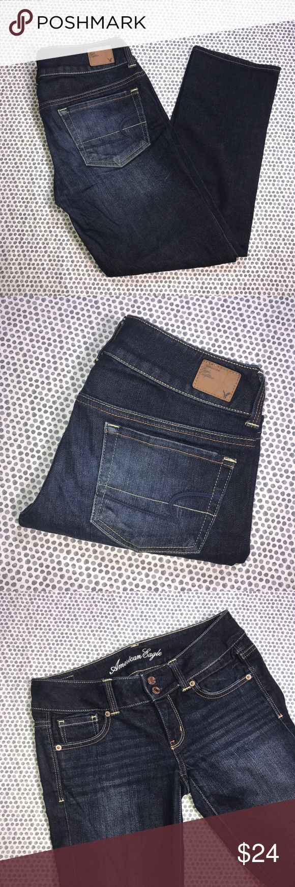 American Eagle Stretch Dark Wash Artist Flare Jean American Eagle Outfitters Stretch Dark Wash Artist Flare  Jeans. Size 2. Pre-owned, but in excellent used condition. No holes, stains or pilling. Measurements: Waist laying flat is 14 1/2 inches. Length is 33 inches. Inseam is 25 1/2 inches. Rise is 7 inches. American Eagle Outfitters Jeans Flare & Wide Leg