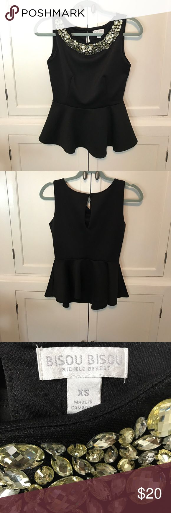 B I S O U   B I S O U Black peplum top with gorgeous beaded neckline | All gems are in tact, a couple are a hare loose, and some have some marks on them | Gems are citrine/pale yellow and clear | Keyhole closure on back | Great used condition, perfect for a night out! Bisou Bisou Tops