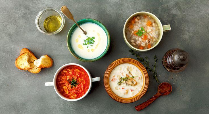 寒い朝に起きて、温かいスープをひとくち。 仕事や家事の合間に、スープランチでひと休み。 一日がんばった体がゆったりくつろぐ、夕食にもスープ。 遅い時間に、スープで小腹を満たしてぐっすり眠る。  どんなシーンでも、そこにピッタリくるスープレシピのバリエーションがあると嬉しいですね。
