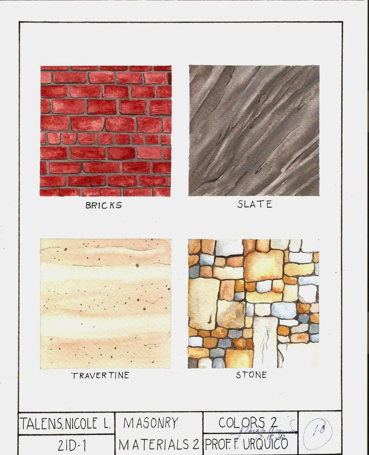 """Subject: Colors 2: Rendering  Masonry Materials  Watercolor on 8.5""""x11"""" Watercolor Paper"""
