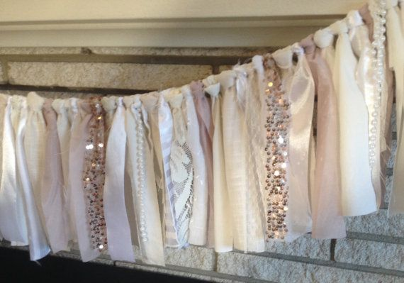 Blush Rose Gold Sequin Fabric Banner Garland by ohMYcharley