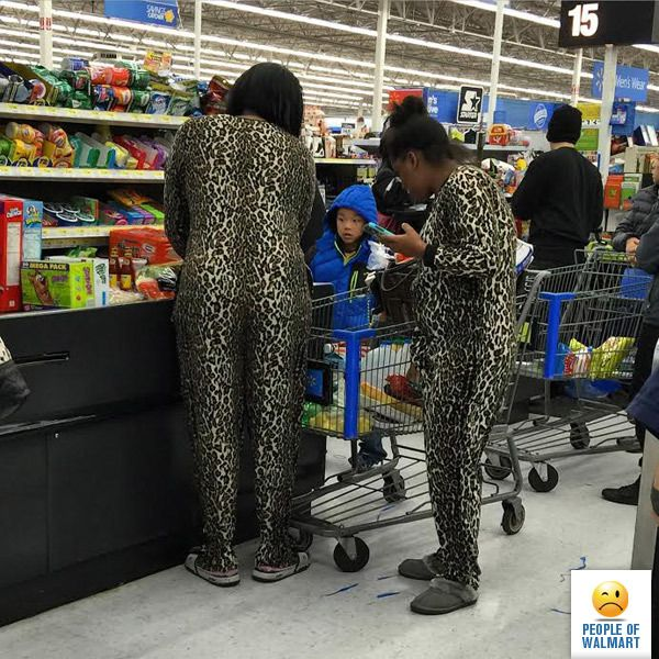 Wild dress   Everyone goes to shop in WalMart minimum once a week, How you will feel when you see something when you go for shopping in early morning or anytime? Even though outside if you see like this how is your feeling will be? These lovely ladies wearing animal look like dress that will make someone's day awkward definitely. Enjoy next one as well, you will discover something new.