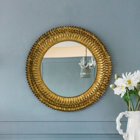 Gold Feather Mirror - Large - Round & Oval Mirrors - Mirrors - Lighting & Mirrors