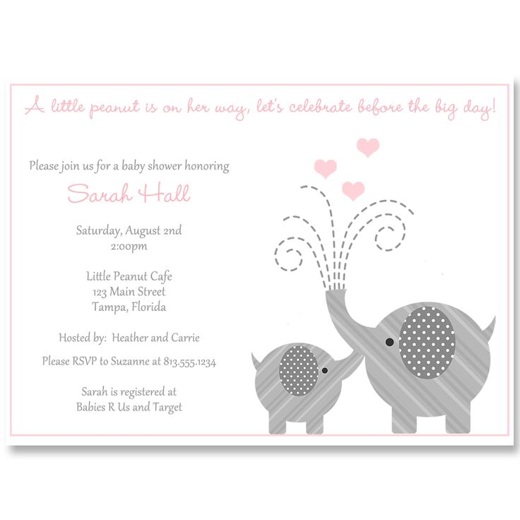 Invite Guests To Your Girl Baby Shower With This Simple And Classic Pink  Invitation Featuring A