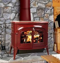 This is red like I want. With stone. but chimney would need to be set back.
