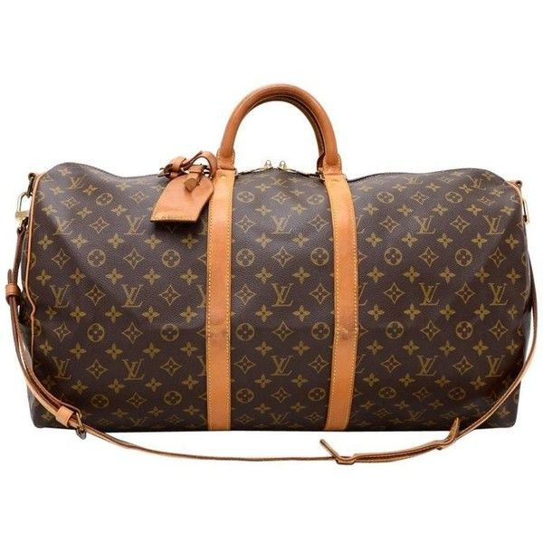Preowned Vintage Louis Vuitton Keepall 55 Bandouliere Monogram Canvas... ($740) found on Polyvore featuring bags, luggage, black and duffel bags