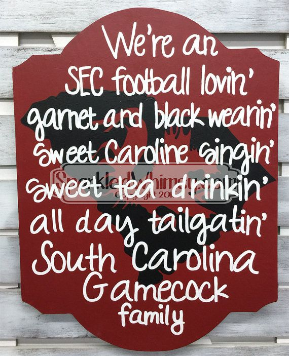South Carolina Gamecock Family Football Sign by SparkledWhimsy