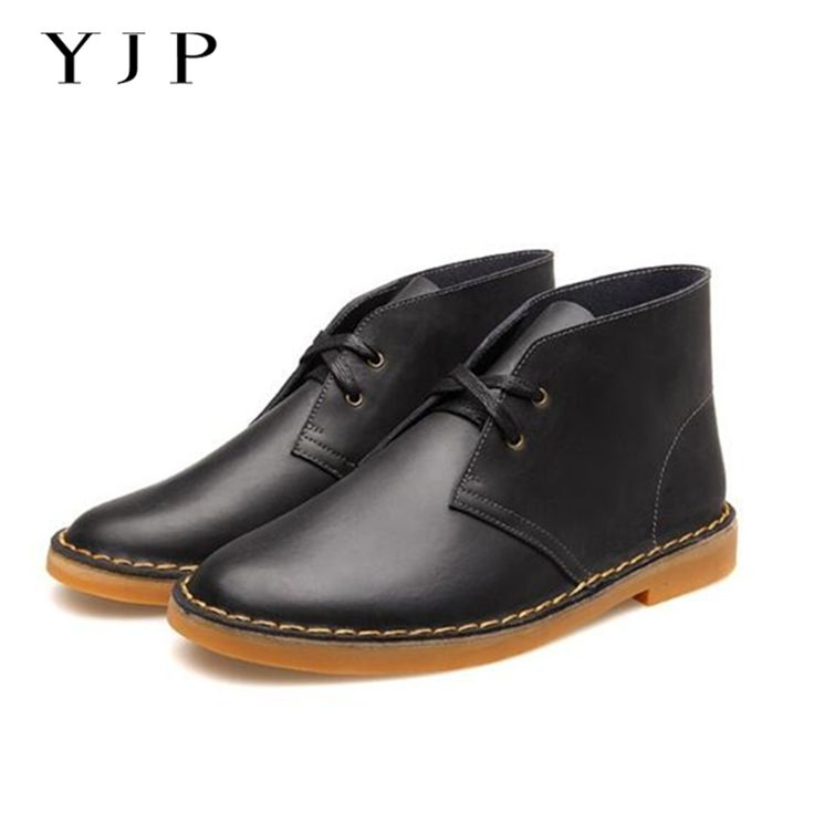 ==> [Free Shipping] Buy Best YJP Classic Desert Boots Black/Brown Leather Chukka Men's Lace-up Round Toe Ankle Boots Vintage Casual Shoes Flat Heel Botas Online with LOWEST Price   32784129218