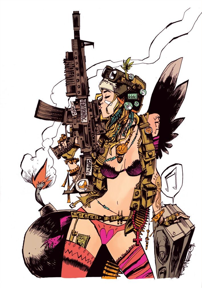 The eponymous character Tank Girl drives a tank, which is also her home. She undertakes a series of missions for a nebulous organization before making a serious mistake and being declared an outlaw for her sexual inclinations and her substance abuse. The comic centres on her misadventures with her boyfriend, Booga, a mutant kangaroo.