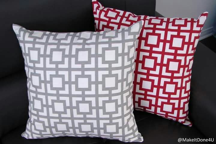 """Grey, Red Accent cushion cover, 20"""" × 20"""""""