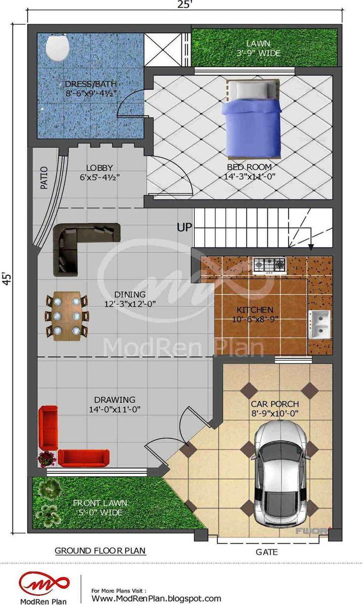 5 marla house plan 1200 sq ft 25x45