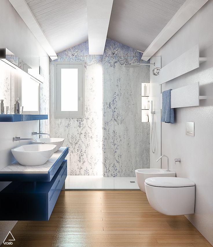 Rendering of a bathroom -Emanuela Berardi 3D Generalist | New house nearby Rimini, Italy – arch. Stefano Zaghini's project  #bathroomdesign #3dmodeling #cgi #vrayrender #vrayforc4d #bathroom #blue #wallpaper #wallanddeco #shower #arceb #stefanozaghiniarchitetto #interior #interiordesign #architecture #italianstyle #minimalism