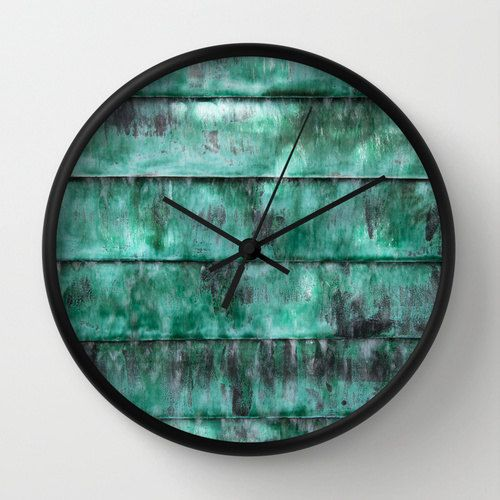 Turquoise clock, teal wall clock, home decor art clock, texture art clock, striped wall clock, art textures clock, abstract photo clock art
