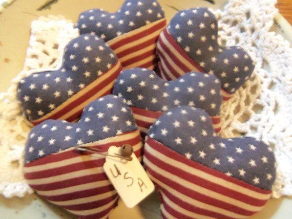 summer bowl fillers | Primitive bowl fillers ornies tucks Summer Americana flag hearts vint ...