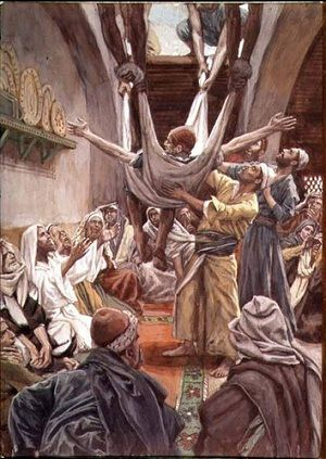 """Palsy Man Let Down From Roof to be Healed.    BIBLE SCRIPTURE: Mark 2:4, """"And when they could not come nigh unto him for the press, they uncovered the roof where he was: and when they had broken it up, they let down the bed wherein the sick of the palsy lay."""""""