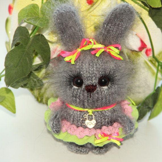 Grey bunny toy Easter bunny knitted rabbit hand-knit bunny toy