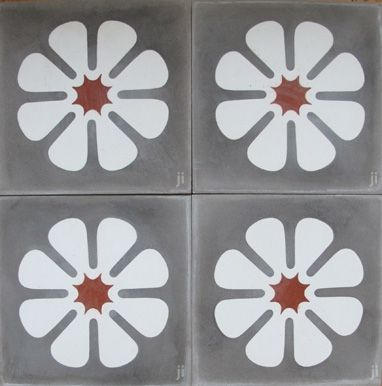poss Woolloowin job tile grey-and -white flower reproduction no 121