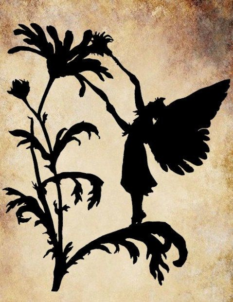 Garden Fairy flower png silhouette Digital by VellasCollageSheets, $1.00