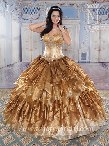 Quinceanera  Princess Shimmering Organza strapless Ball gown with Sweetheart neckline and pointed waistline, Rhinestone/Sequin accents on bodice, Lace-up back, ruffle-edged Bolero Gold/Multi,