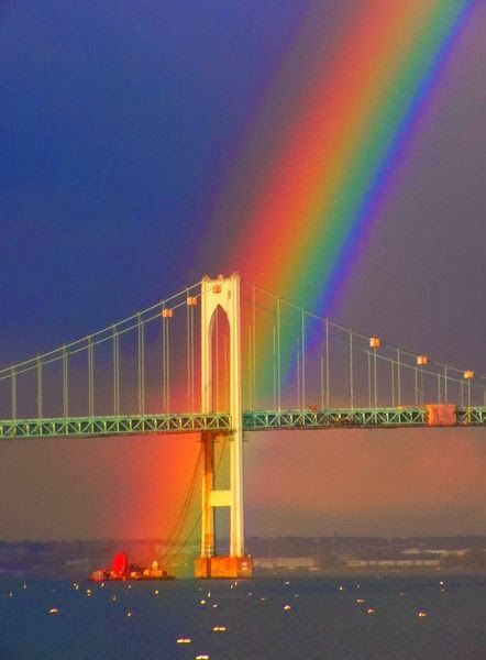 Rainbow over a Bridge - Rhode Island - Ohmygosh! I can only try and imagine how spectacular this was in person!